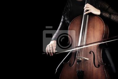 Naklejka Gracz wiolonczelowy. Wiolonczelista ręce gra na wiolonczeli