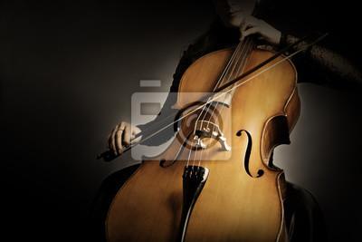 Naklejka Gracz wiolonczelowy. Wiolonczelista ręki bawić się wiolonczelowy zbliżenie