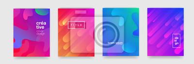 Naklejka Gradientowa płynie geometryczna deseniowa tło tekstura dla plakat pokrywy projekta. Minimalnego koloru sztandaru abstrakcjonistyczny gradientowy szablon. Nowoczesny kształt fali wektorowej dla brichur