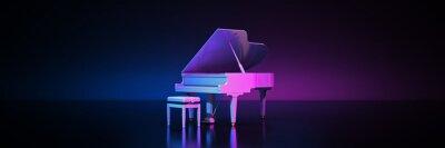 Naklejka Grand piano in dark background. 3d rendering