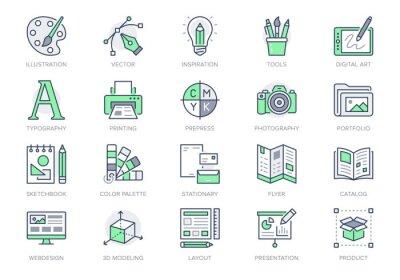 Naklejka Graphic design line icons. Vector illustration included icon - digital creative tool, paintbrush, palette, prepress, presentation layout outline pictogram for art. 64x64 Green Color Editable Stroke