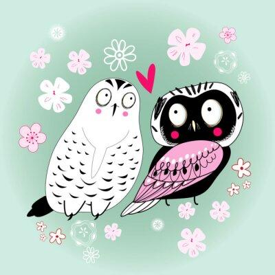 Naklejka graphic, zabawny, miłość sowa