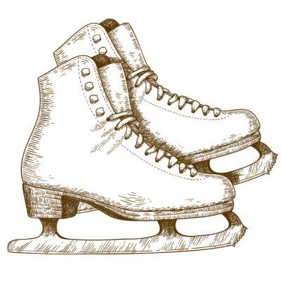 Naklejka Grawerowanie ilustracji łyżwach buty i ostrza