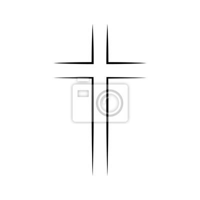 Naklejka Gray Christian cross icon in flat design. Vector illustration. Abstract linear christian cross.