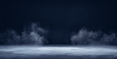 Naklejka Gray textured concrete platform, podium or table with smoke in the dark