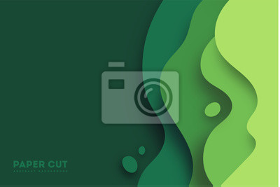 Naklejka Green abstract paper carve background.Paper art style of nature concept design.Vector illustration. eps 10