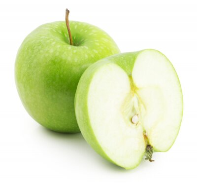 Naklejka green apple with slice isolated on the white background