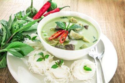 Naklejka Green curry creamy coconut milk with chicken , Popular Thai food