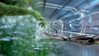 Naklejka Green technology conceptual design, human arm covered with grass and lush and robotic hand, 3d render