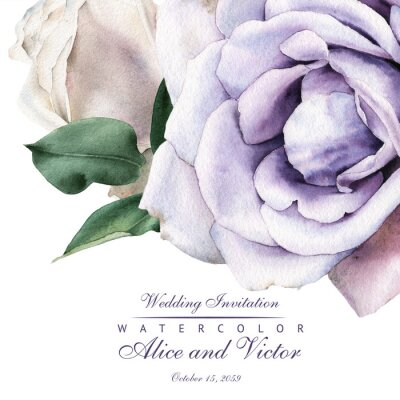 Naklejka Greeting card with roses, watercolor, can be used as invitation card for wedding, birthday and other holiday and  summer background