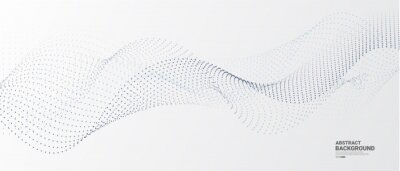 Naklejka Grey white abstract background with flowing particles. Digital future technology concept. vector illustration.