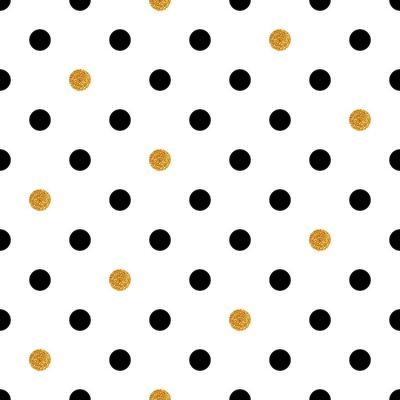 Naklejka Grochy bezszwowe tło w kolorach złota i czerni.