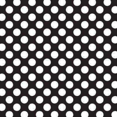 Naklejka Groszki tło z białymi kropkami i czarnym tle