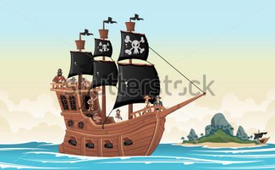 Naklejka Group of cartoon pirates on a ship at the sea