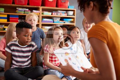 Naklejka Group Of Elementary School Pupils Sitting On Floor Listening To Female Teacher Read Story