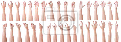 Naklejka GROUP of Male asian hand gestures isolated over the white background. Soft Grab and Touch Action.