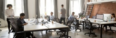 Naklejka Group of multi ethnic corporate employees working in co-working open space walking in motion, sit at shared desks. Busy workday, office rush concept. Horizontal photo banner for website header design