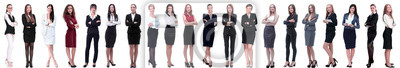 Naklejka group of successful young businesswoman standing in a row