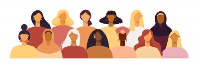 Naklejka Group of women of different nationalities and cultures, skin colors and hairstyles. Society or population, social diversity. Cartoon characters. Vector illustration in flat design, isolated on white