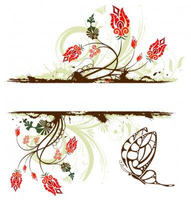 Naklejka Grunge farby kwiatu tła z motyla, projektowania, wektor