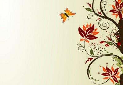 Naklejka Grunge farby kwiatu tła z motyla, wektor