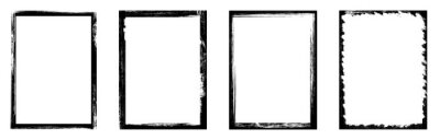 Naklejka Grunge frame. Vector grunge borders. Created with a brush. Border set. Grunge frames and Corners. Frames vector collection - stock vector.