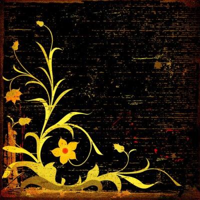 Naklejka grunge kwiatów kompozycja