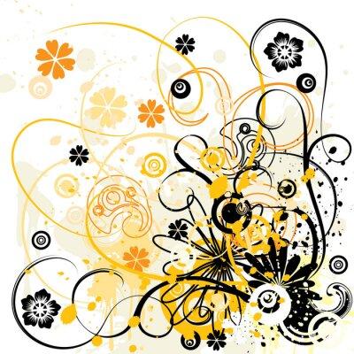 Naklejka grunge kwiatów tle