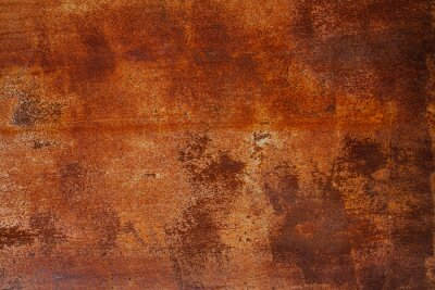 Naklejka Grunge rusted metal texture. Rusty corrosion and oxidized background. Worn metallic iron panel. Abandoned design wall. Copper bar.