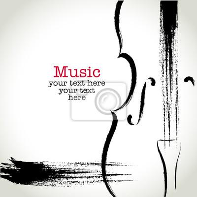 Naklejka Grunge rysunek wiolonczeli z pędzla