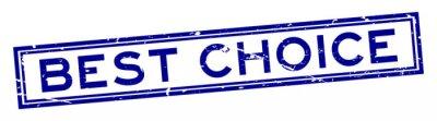 Naklejka Grunge słowa najlepszego kwadrata foki gumowy błękitny najlepszy wyborowy znaczek na białym tle