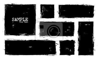 Naklejka Grunge style set of square and rectangle shapes . Vector