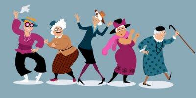 Naklejka Grupa aktywne starsze kobiety tanczy, EPS 8 wektoru ilustracja