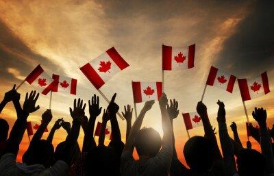 Naklejka Grupa ludzi macha Kanada Flagi