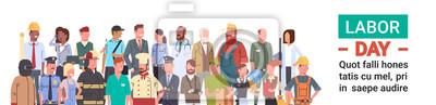 Naklejka Grupa ludzi różnych zawodu Ustaw, Międzynarodowy Dzień Pracy płaski ilustracji wektorowych