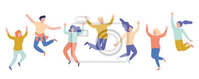 Naklejka Grupa młodzi szczęśliwi roześmiani ludzie skacze z nastroszonymi rękami. Uczniowie. Ilustracja kreskówka płaski wektor na białym tle.