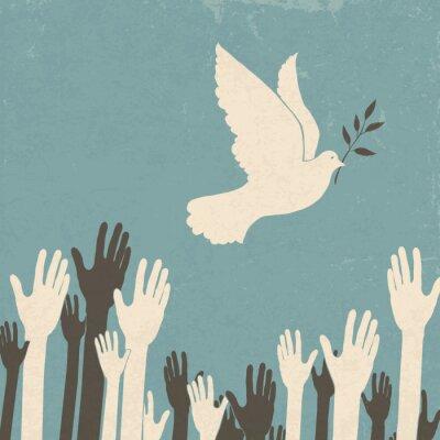 Naklejka Grupa rąk i gołębia pokoju. Retro ilustracji, EPS10