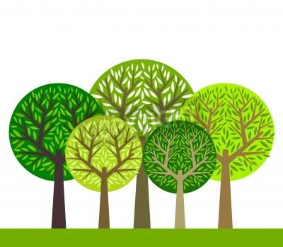 Naklejka Grupa zielonych drzew ilustracji