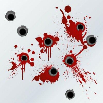 Naklejka Gunshot rozpryski krwi tło