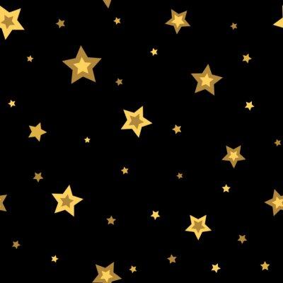 Naklejka Gwiazdy bez szwu wzór złoty i czarny retro. Elementy chaotyczne. Streszczenie geometryczny kształt tekstury. Efekt 3D nieba. szablon na tapetę, pakowania, tkaniny, tekstylia. Ilustracja wektorowa
