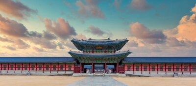 Naklejka Gyeongbok palace in Seoul City, Gyeongbokgung palace landmark of Seoul, South Korea, Korean wooden traditional house in Gyeongbokgung the main royal palace of Joseon dynasty.
