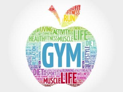 Naklejka GYM apple word chmura, koncepcja zdrowia
