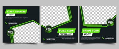 Naklejka Gym, Fitness, Workout Social media post templates design collection. Modern square banner with abstract green shape and place for the photo. Usable for social media, banners, and websites.
