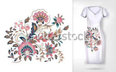 Naklejka Haft kolorowy kwiatowy wzór trendu. Wektor tradycyjny wzór kwiatów ozdobnych na sukienka makiety. Może być stosowany do ubrań, tekstyliów, artykułów gospodarstwa domowego.