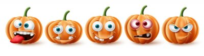 Naklejka Halloween pumpkins vector set. Halloween pumpkin character in funny, happy and scary facial expression for element collection isolated in white background. Vector illustration.