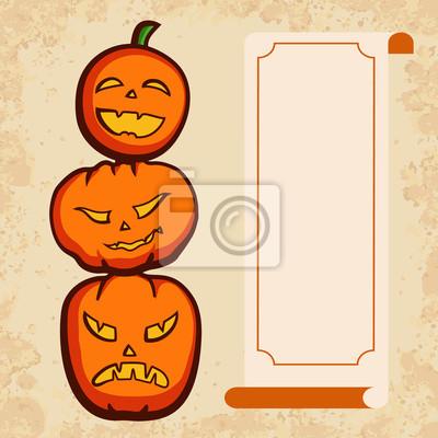 Naklejka Halloween Zaproszenie Z śmieszne Dynie Na Wymiar żółty