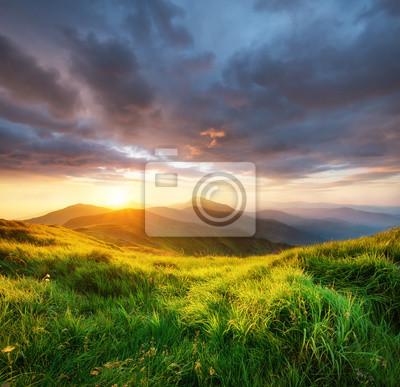 Halna dolina podczas wschodu słońca. Piękny naturalny landsscape w okresie letnim.