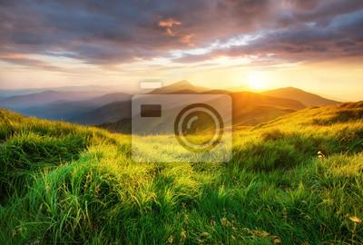 Naklejka Halna dolina podczas wschodu słońca. Piękny naturalny landsscape w okresie letnim.