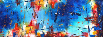 Naklejka Hand drawn colorful painting abstract art panorama background colors texture.