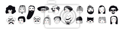 Naklejka Hand drawn doodle set of people faces. Perfect for social media, avatars. Portraits of various men and women. Trendy black and white icons collection. Vector illustration. All elements are isolated